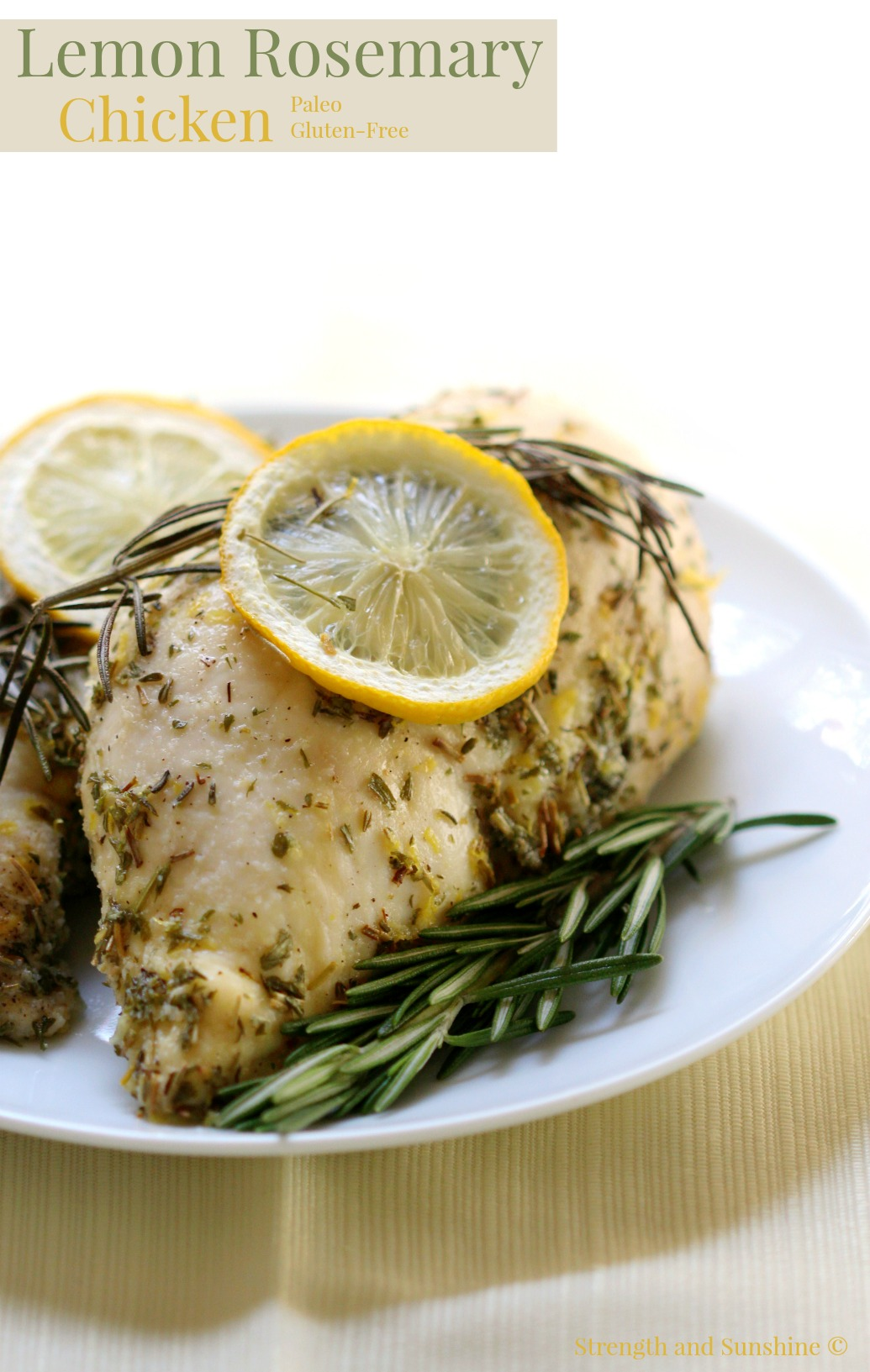 Lemon Rosemary Chicken | Strength and Sunshine @RebeccaGF666 Perfectly baked and zesty lemon rosemary chicken breasts for an easy weeknight dinner recipe. A quick gluten-free and paleo option to flavor up bland chicken with just two simple ingredients! Paired with savory paprika oregano roasted acorn squash and you have a complete family meal!