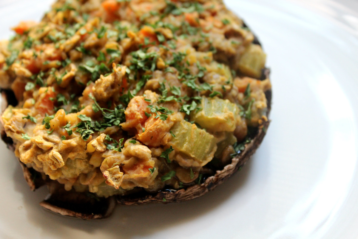 Vegan Stuffed Portobello Mushrooms And A Sweet Crunchy Treat Strength And Sunshine