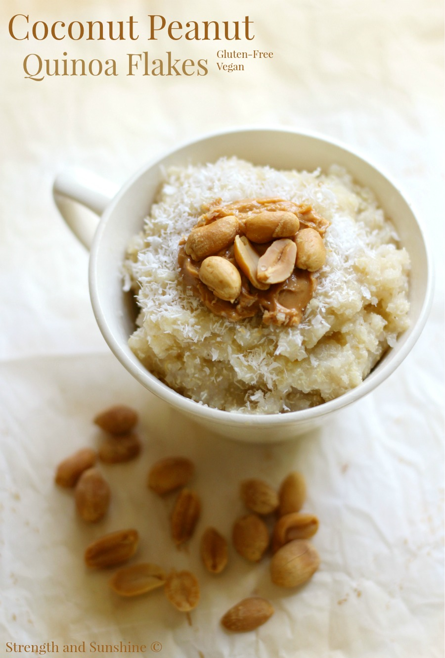 Coconut Peanut Quinoa Flakes | Strength and Sunshine @RebeccaGF666 A fun flavor combination for a quick & easy healthy breakfast recipe! Coconut Peanut Quinoa Flakes are gluten-free, vegan, and done in the microwave. A bowl of pure plant-based protein and healthy fats to fuel you all day long!