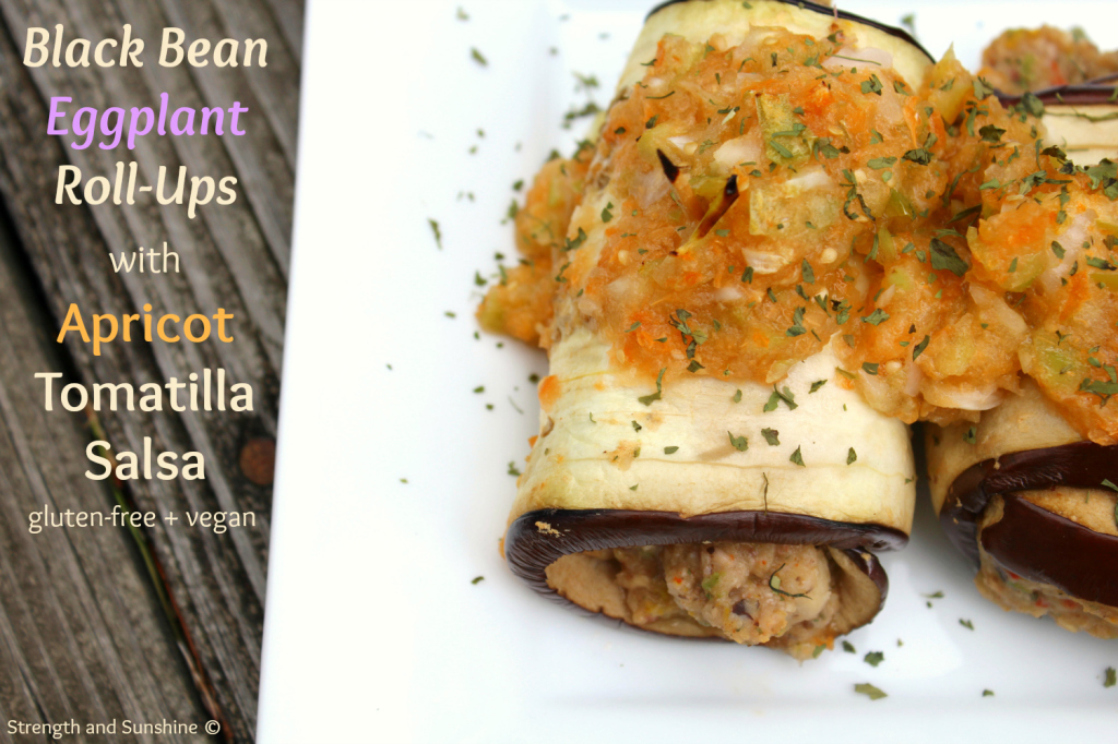 Black Bean Eggplant Roll-Ups with Apricot Tomatillo Salsa | Strength and Sunshine #glutenfree #vegan