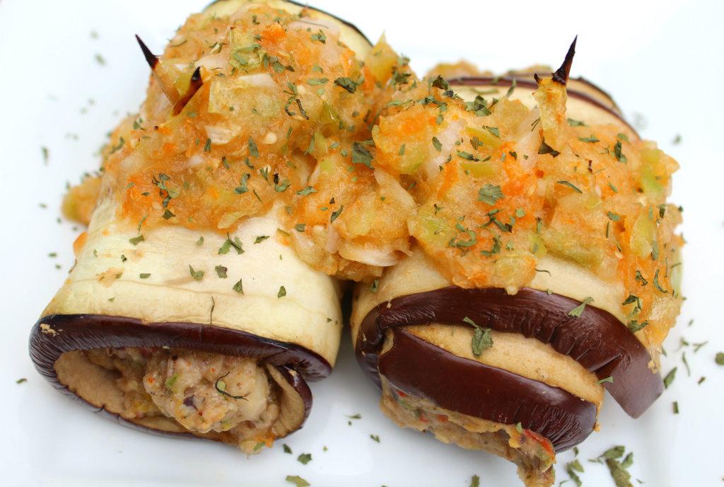 Black Bean Eggplant Roll-Ups with Apricot Tomatillo Salsa | Strength and Sunshine #glutenfree #vegan
