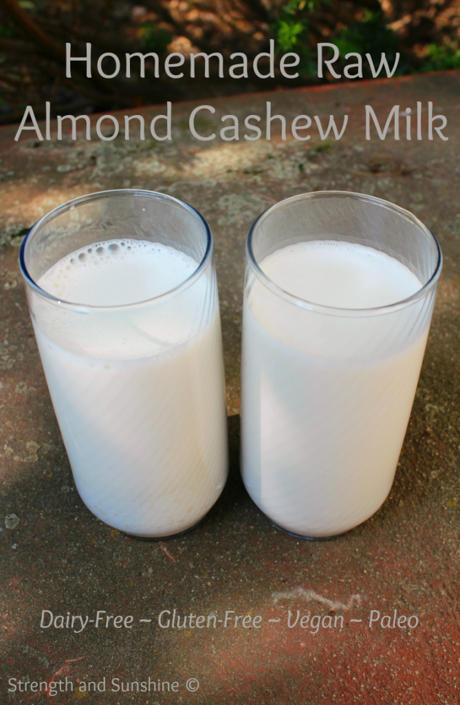 Homemade Raw Almond Cashew Milk | Strength and Sunshine #vegan #dairyfree #glutenfree #paleo