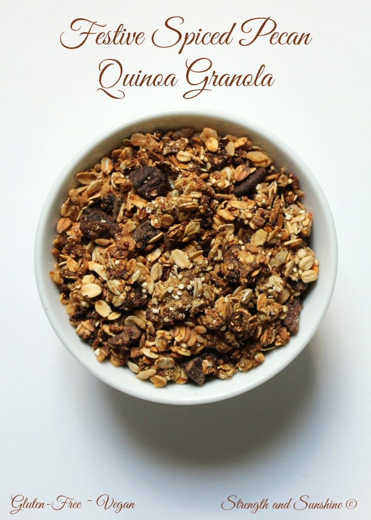 Festive Spiced Pecan Quinoa Granola | Strength and Sunshine @RebeccaGF666 #granola #glutenfree #holiday