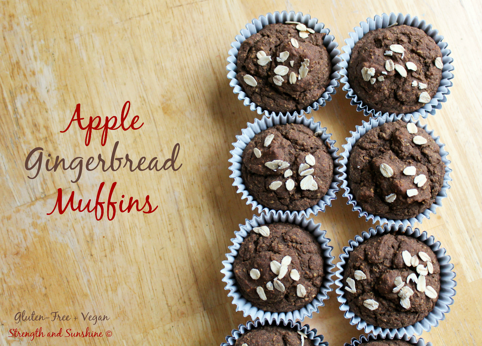 Apple Gingerbread Muffins | Strength and Sunshine @RebeccaGF666 #glutenfree #vegan #gingerbread #muffins #apple #baking