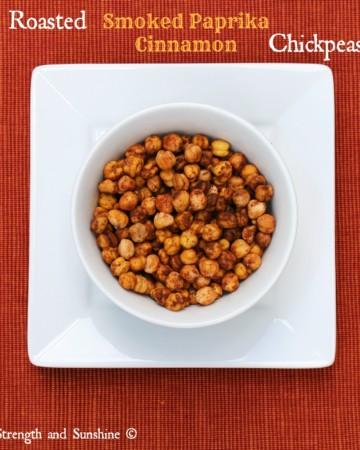 Roasted Smoked Paprika Cinnamon Chickpeas | Strength and Sunshine @RebeccaGF666 #chickpeas #glutenfree #vegan #smokedpaprika #cinnamon #snacks