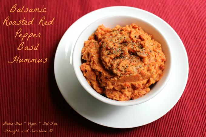 Balsamic Roasted Red Pepper Basil Hummus | Strength and Sunshine @RebeccaGF666 #hummus #glutenfree #vegan #fatfree #soyfree #dip #spread #snack