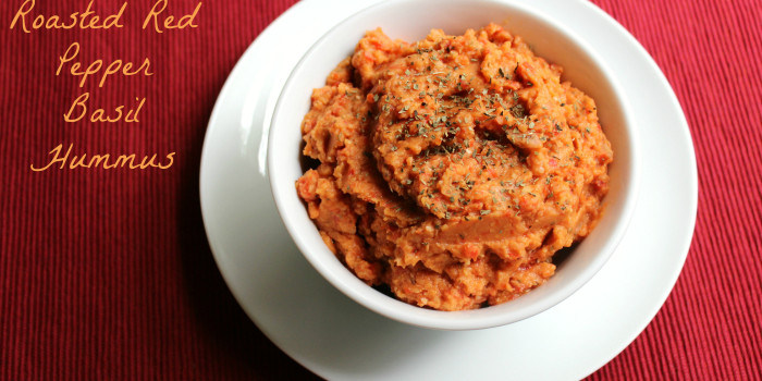 Balsamic Roasted Red Pepper Basil Hummus | Strength and Sunshine @RebeccaGF666 #hummus #glutenfree #vegan #fatfree #soyfree #dip #spread #snack