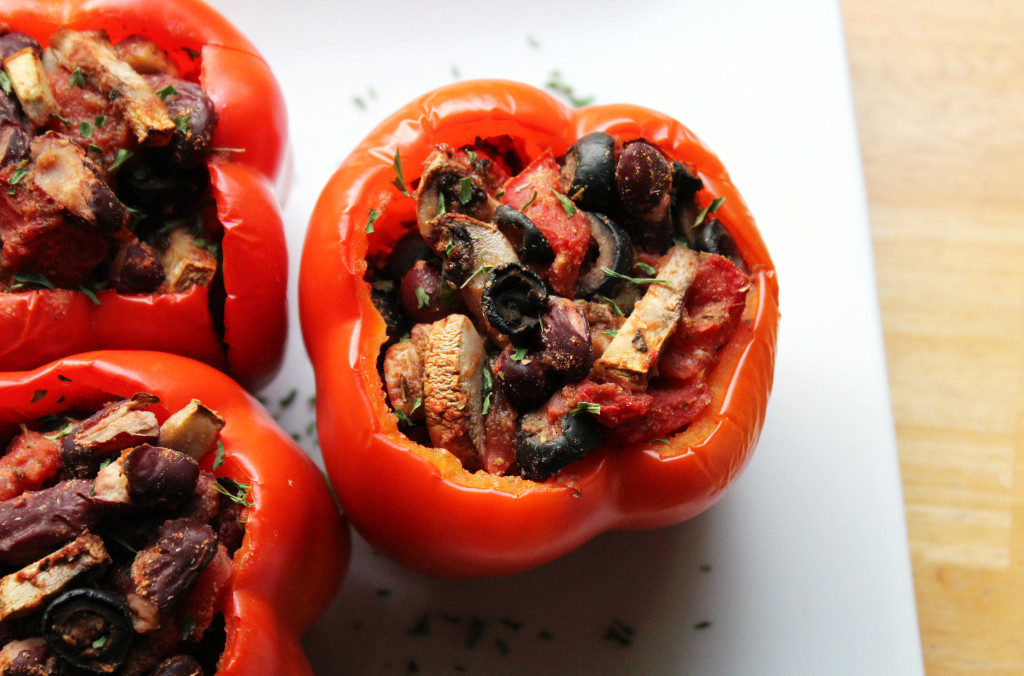 Cajun Stuffed Bell Peppers | Strength and Sunshine @RebeccaGF666 #peppers #dinner #cajun #glutenfree #vegan #meatless