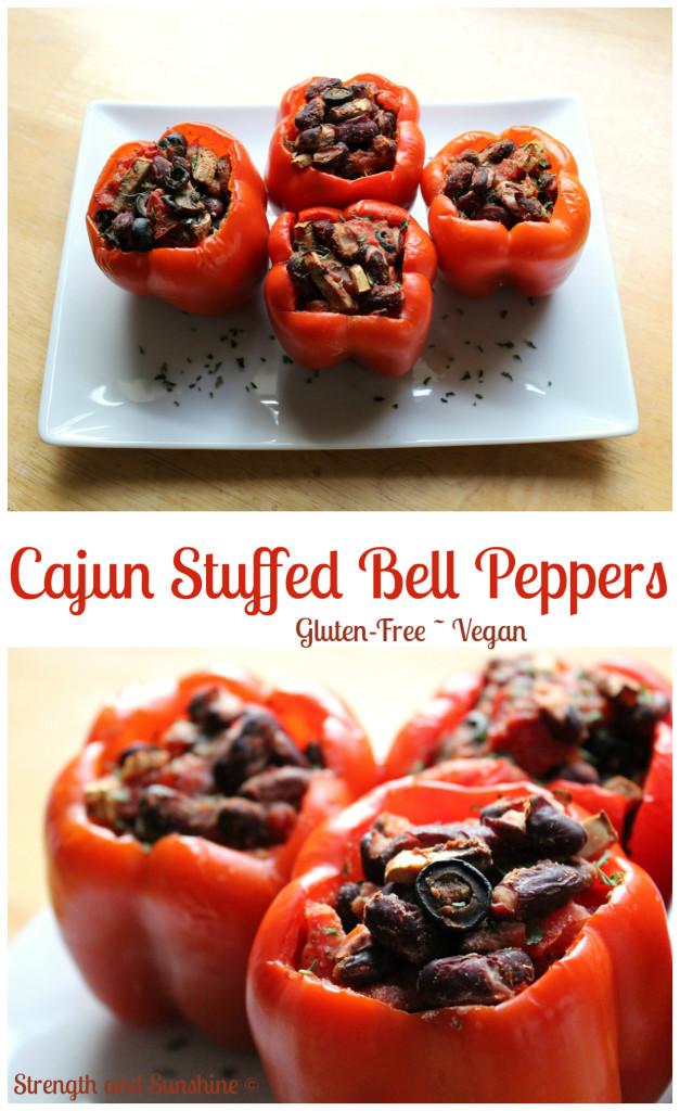 Cajun Stuffed Bell Peppers | Strength and Sunshine @RebeccaGF666 #peppers #dinner #cajun #glutenfree #vegan #meatless