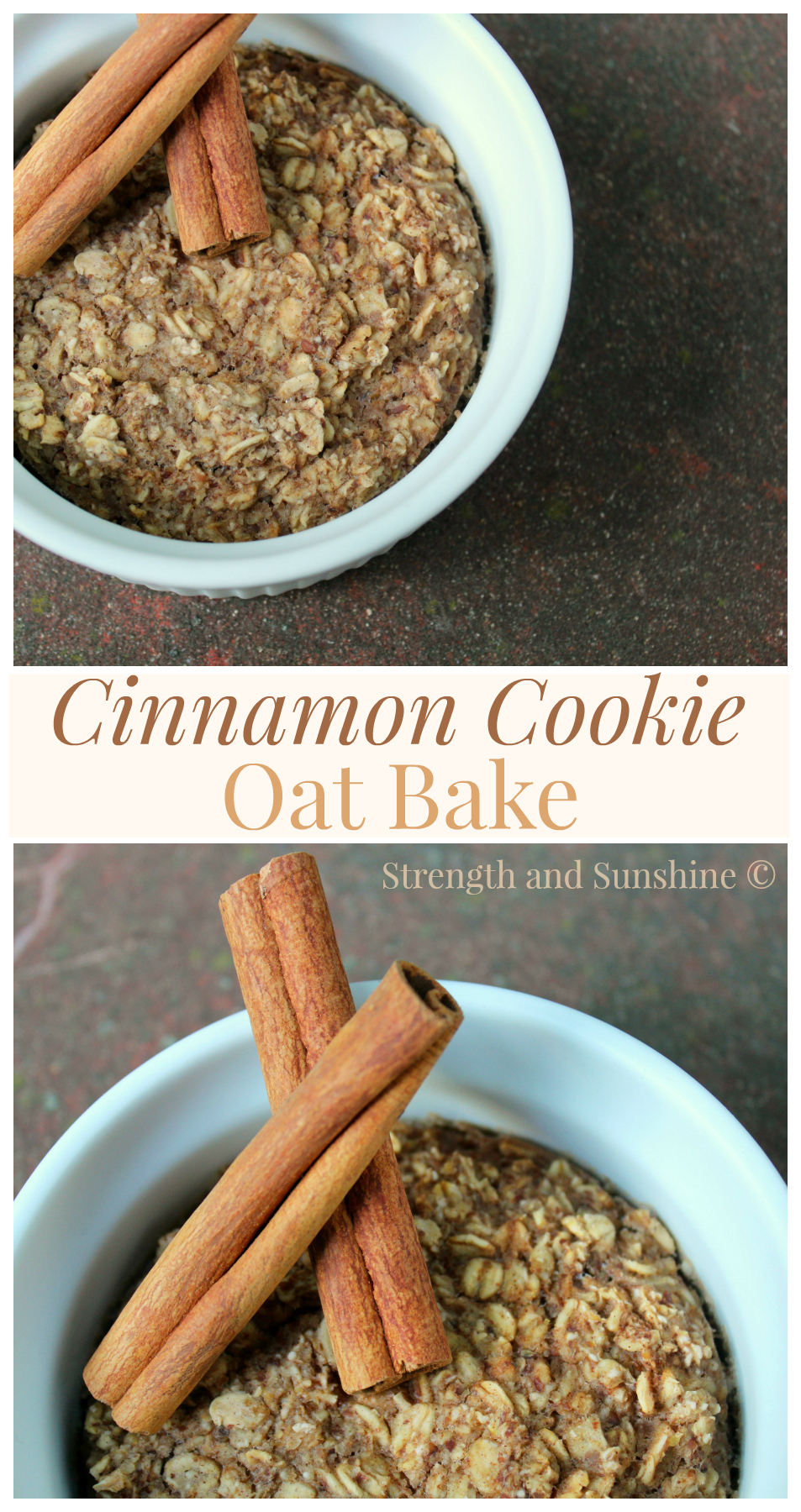 Cinnamon Cookie Oat Bake | Strength and Sunshine @RebeccaGF666 Like a warm cinnamon cookie fresh from the oven, this gluten-free, vegan, and refined sugar-free oat bake will make the perfect breakfast.
