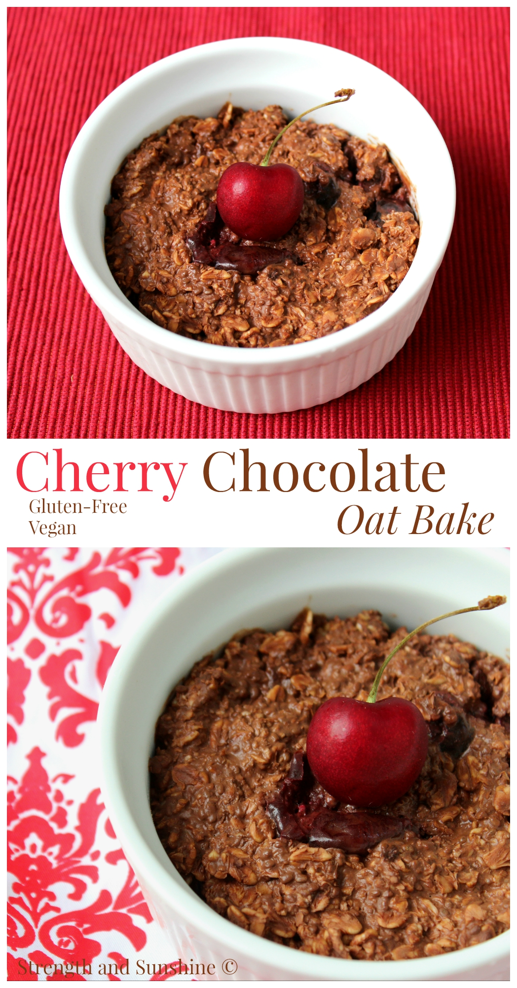 Cherry Chocolate Oat Bake | Strength and Sunshine @RebeccaGF666 Cherries. One of the sweetest, decadent fruits of the season. Dark red sweetness paired with the luxurious smooth taste of chocolate will have you dreaming about breakfast all night long! Gluten-free and vegan, this healthy Cherry Chocolate Oat Bake will beckon you to the breakfast table!