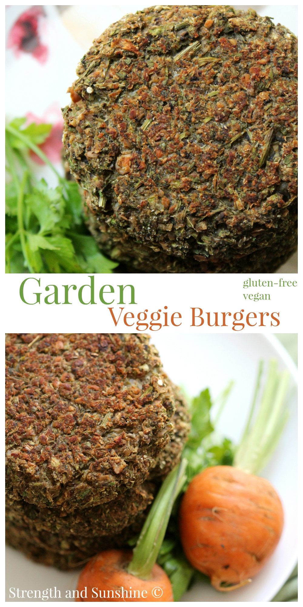 Garden Veggie Burgers | Strength and Sunshine @RebeccaGF666 Taking full advantage of the fresh summer bounty, these healthy, moist, gluten-free, vegan garden veggie burgers will have you wishing summer stayed forever..