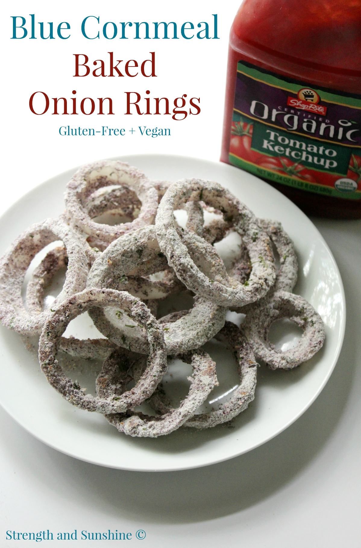 "Blue Cornmeal Baked Onion Rings | Strength and Sunshine @RebeccaGF666 Healthy baked onion rings coated with blue cornmeal. No oil, gluten-free, and vegan, perfect to satisfy that ""fried & fast"" comfort food craving! Snacking, tailgating, or as a dinner side dish!"