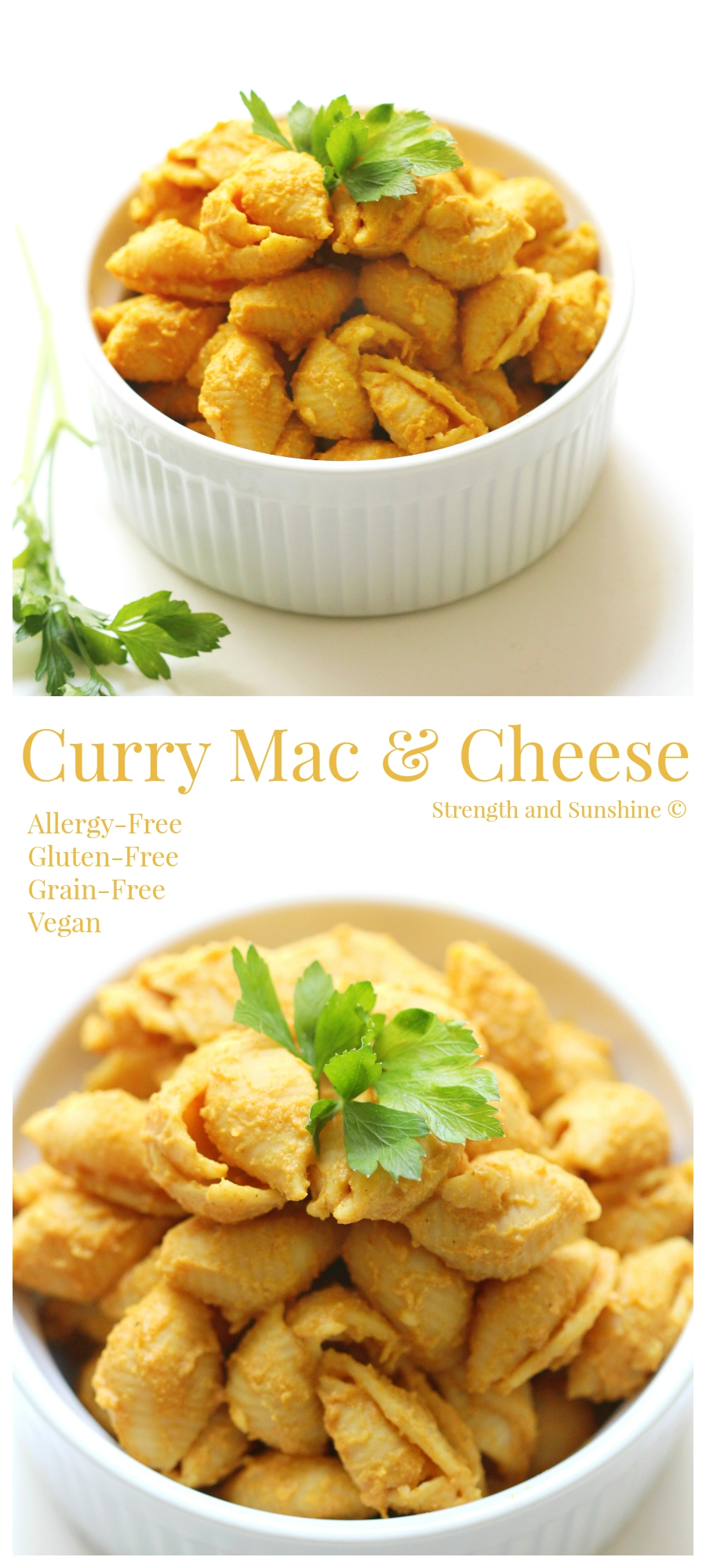 Curry Mac & Cheese | Strength and Sunshine @RebeccaGF666 Just when you thought mac & cheese couldn't get any better. This curry mac & cheese will blow your mind and taste buds while still being 100% allergy-free, gluten-free, grain-free, and vegan. You'll have no idea that this comfort food recipe is healthy enough to go back for seconds!