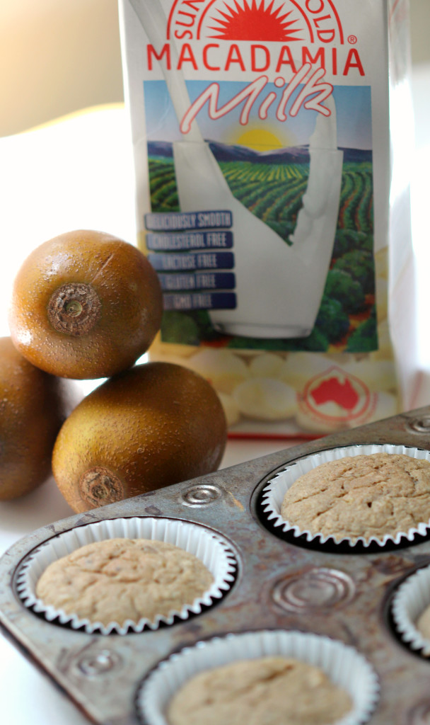 "Golden Kiwi Muffins | Strength and Sunshine @RebeccaGF666 Take a trip ""down under"" to the Gold Coast with this Golden Kiwi Muffin recipe. Sweet gold kiwifruit with macadamia milk combine to make these moist, succulent, gluten-free and vegan muffins a perfect breakfast destination!"
