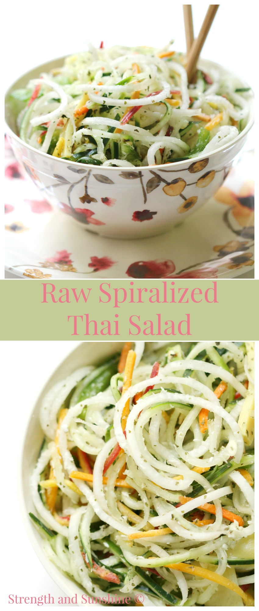 Raw Spiralized Thai Salad | Strength and Sunshine @RebeccaGF666 Who ever said veggies were boring? This Spiralized Thai Salad is all veggie, all raw, and exploding with flavor! If you aren't a veggie lover yet, you will be after tasting this gluten-free, paleo, and vegan spiralized salad recipe!