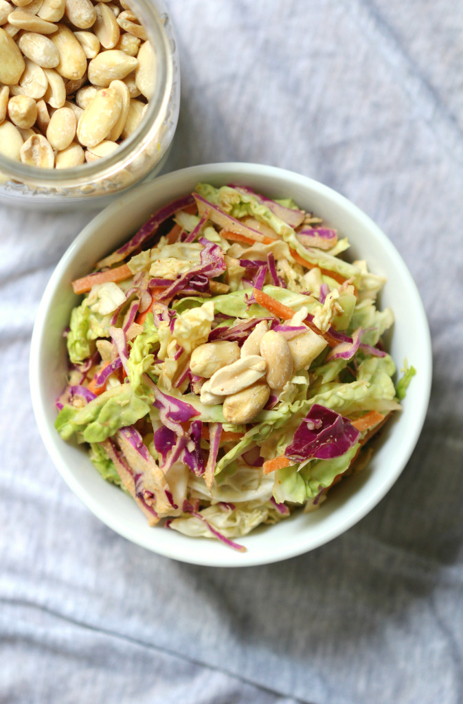Smokey & Sweet Peanut Slaw | Strength and Sunshine @RebeccaGF666 Smokey and sweet, this slaw has it all. Crunchy cabbage, crispy Asian pear, shredded carrots, and a smoky peanut sauce to bring it all together. This gluten-free and vegan side dish will bring new meaning to the term coleslaw.