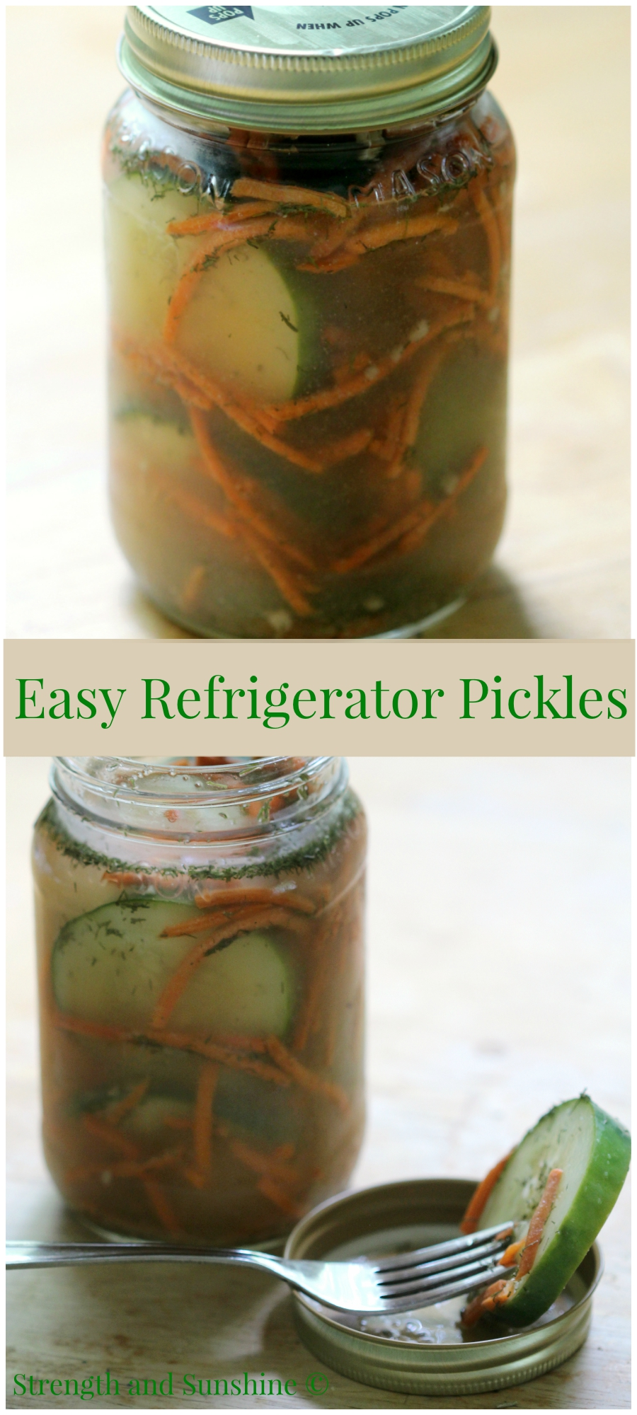 Easy Refrigerator Pickles | Strength and Sunshine @RebeccaGF666 Take the last of your summer cucumbers and make some easy refrigerator pickles. A quick way to take extra cucumbers from boring to totally snack worthy! Gluten-free, healthy, vegan, paleo, and allergy-friendly; even salt and sugar free!