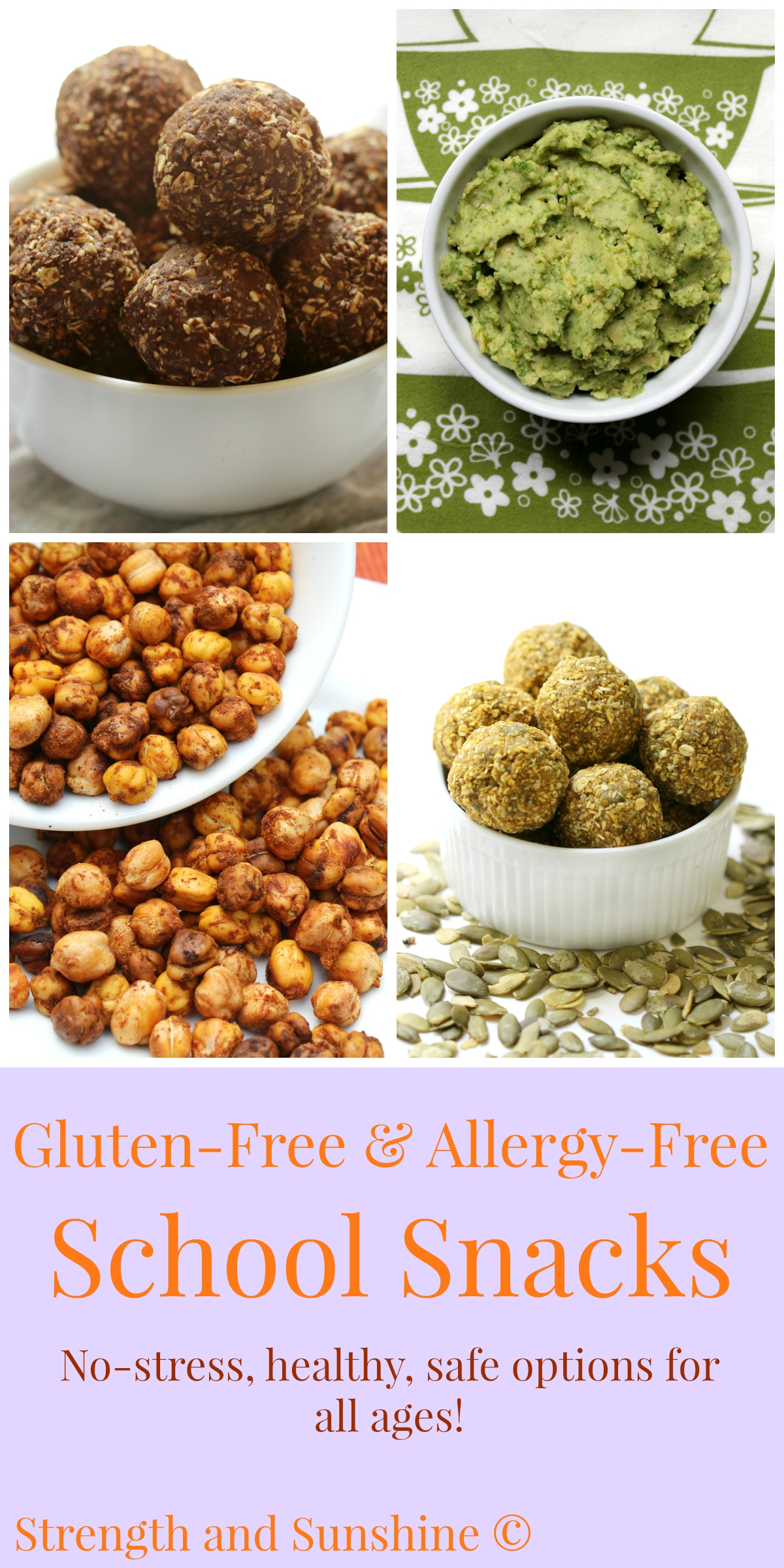 Gluten-Free & Allergy-Free School Snacks | Strength and Sunshine @RebeccaGF666 Options that are all healthy, gluten-free, vegan, and top 8 allergy-free.
