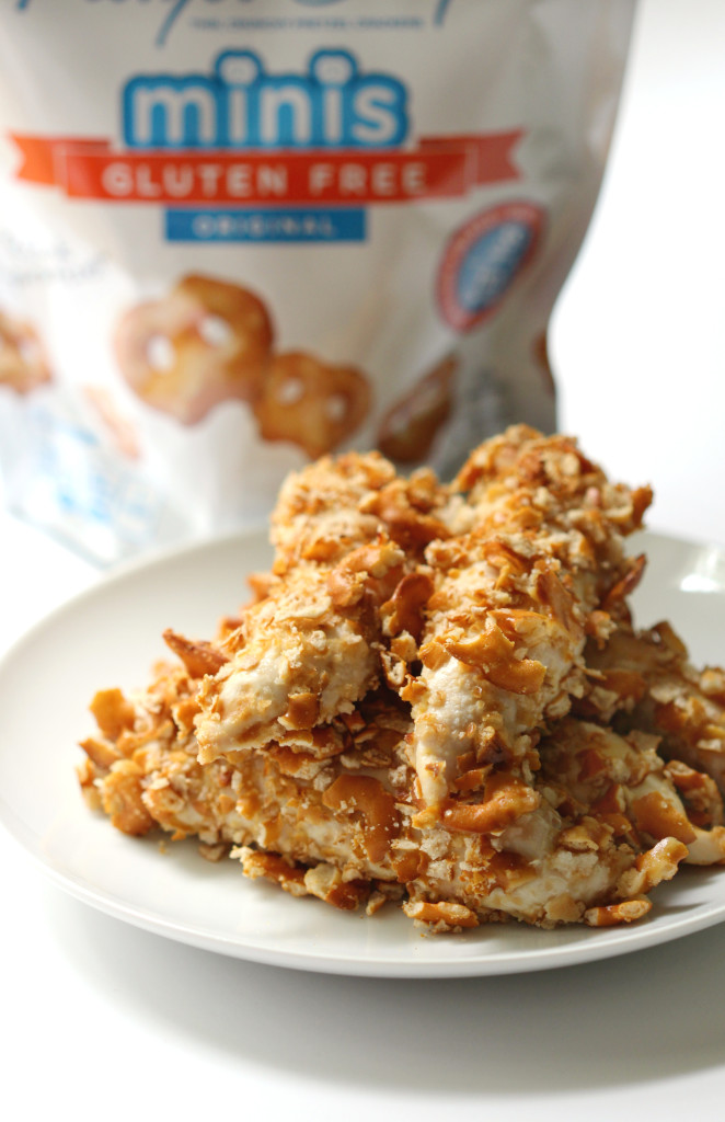 Honey Mustard Pretzel Crusted Chicken | Strength and Sunshine @RebeccaGF666 Make your chicken fun and delicious, while still being a healthy option for the family. Chicken coated in honey mustard then rolled in gluten-free pretzel crisps couldn't be any easier to whip up for a weeknight dinner. Egg-free, dairy-free, nut-free and soy-free as well!