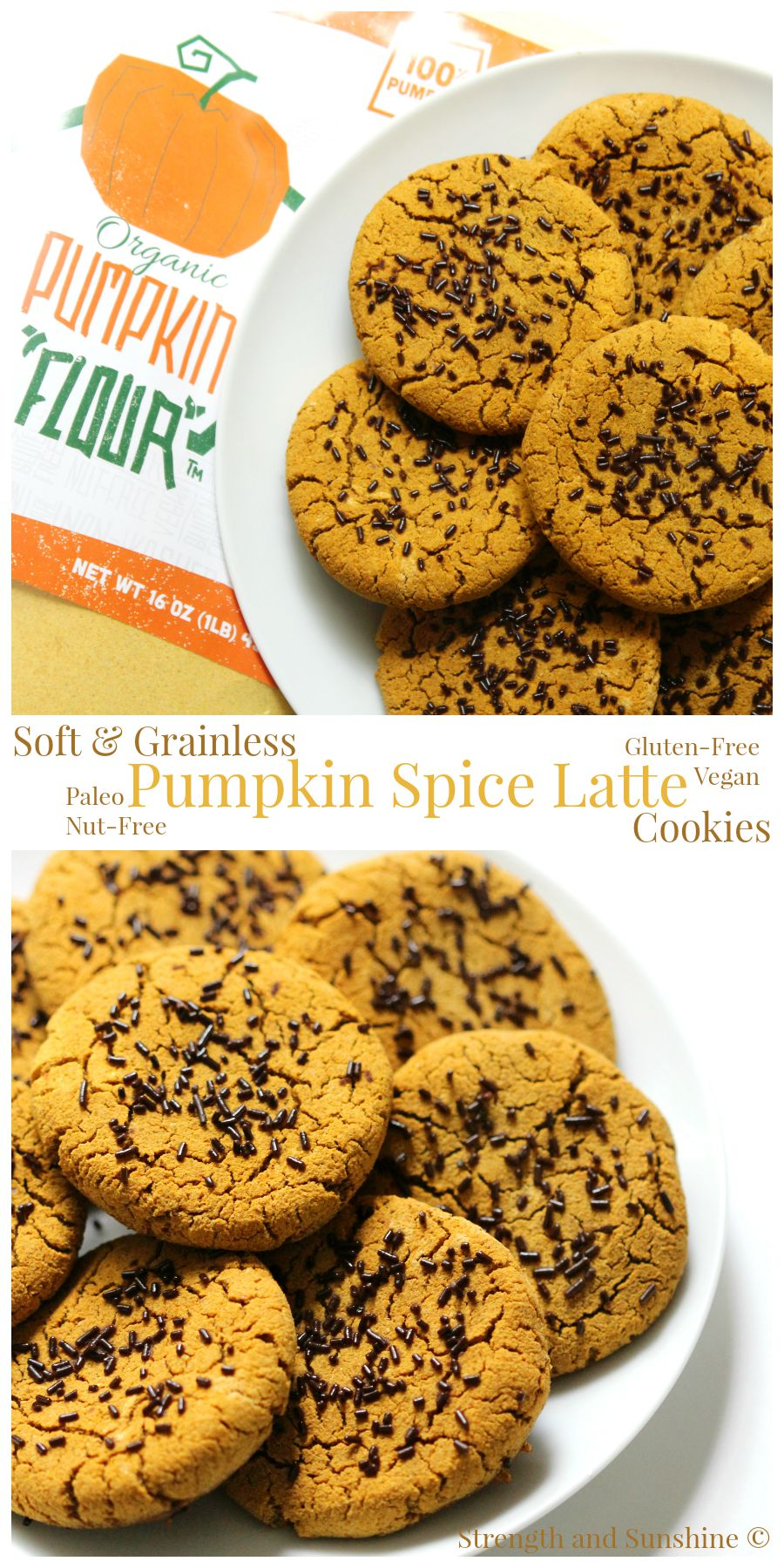 Soft & Grainless Pumpkin Spice Latte Cookies | Strength and Sunshine @RebeccaGF666 Soft and pillowy cookies, healthier (and better) than a drinkable pumpkin spice latte. These pumpkin spice latte cookies are free from the top 8 allergens, gluten-free, vegan, and paleo. You'll be sure to get a dose of real pumpkin here! A perfect Fall dessert recipe.