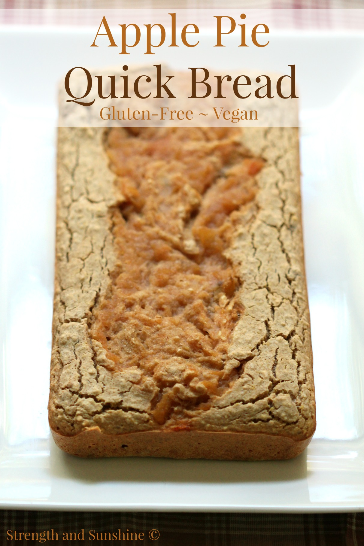 Apple Pie Quick Bread | Strength and Sunshine @RebeccaGF666 The sweet flavors of apple pie transformed into a healthy gluten-free vegan quick bread! This apple pie quick bread recipe is the perfect autumn breakfast, snack, or even dessert!