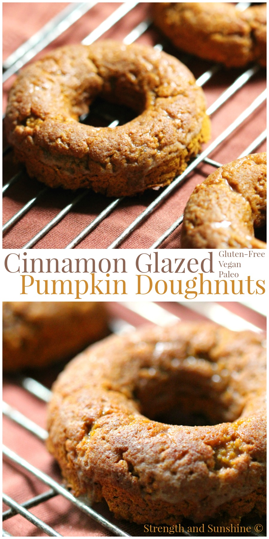 Cinnamon Glazed Pumpkin Doughnuts | Strength and Sunshine @RebeccaGF666 Your morning coffee companion just got sweeter. Cinnamon Glazed Pumpkin Doughnuts, baked to perfection and loaded with pumpkin. Gluten-free, vegan, and paleo, the flavors of fall will keep everyone warm and cozy!