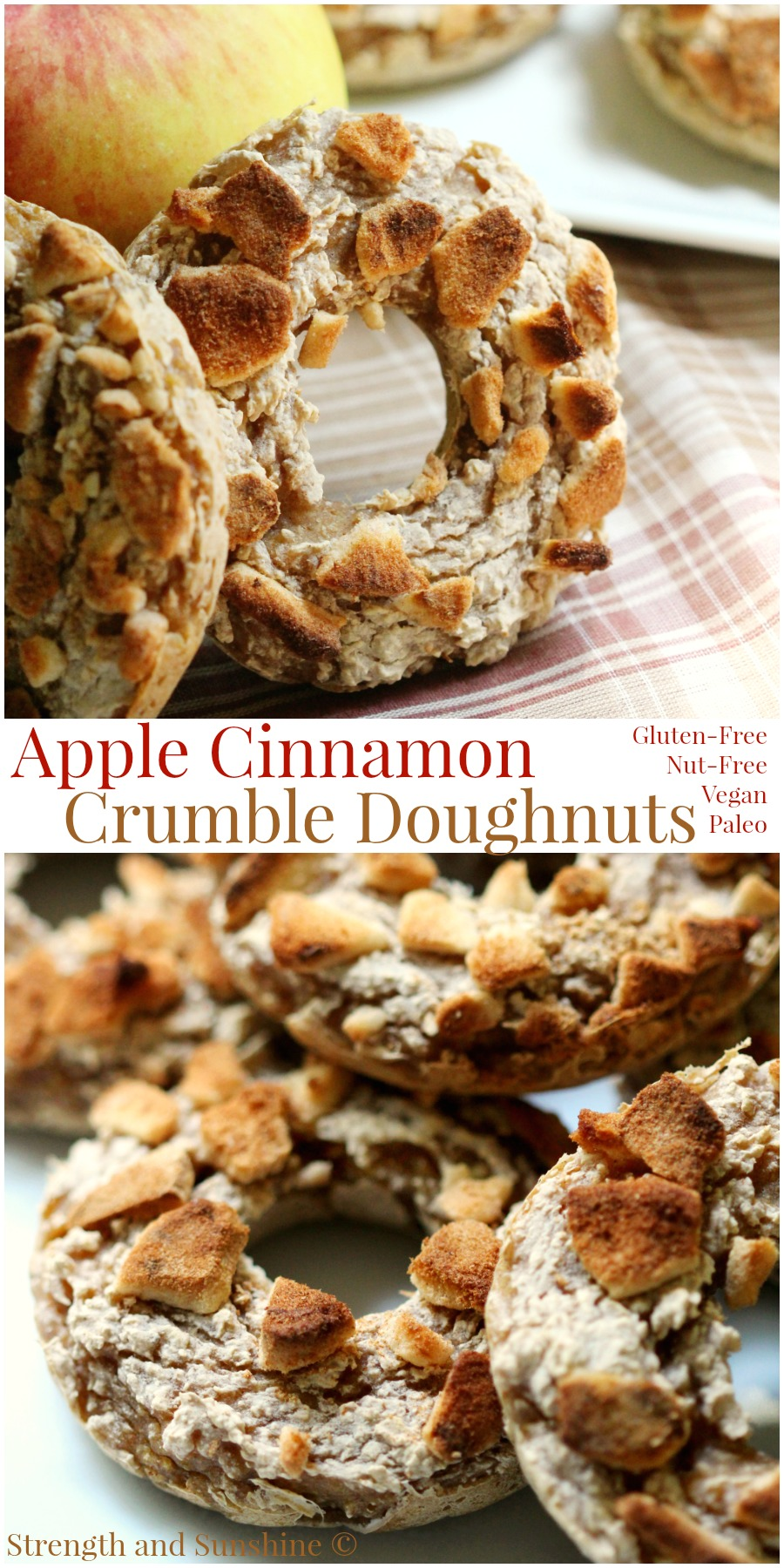 Apple Cinnamon Crumble Doughnuts | Strength and Sunshine @RebeccaGF666 All the seasonal flavors of an apple crumble in the form of an easy allergy-friendly baked doughnut! These apple cinnamon crumble doughnuts allow you to take your crumble on the go without the need for a fork or spoon! A healthy gluten-free, nut-free, vegan, and paleo breakfast or dessert recipe!