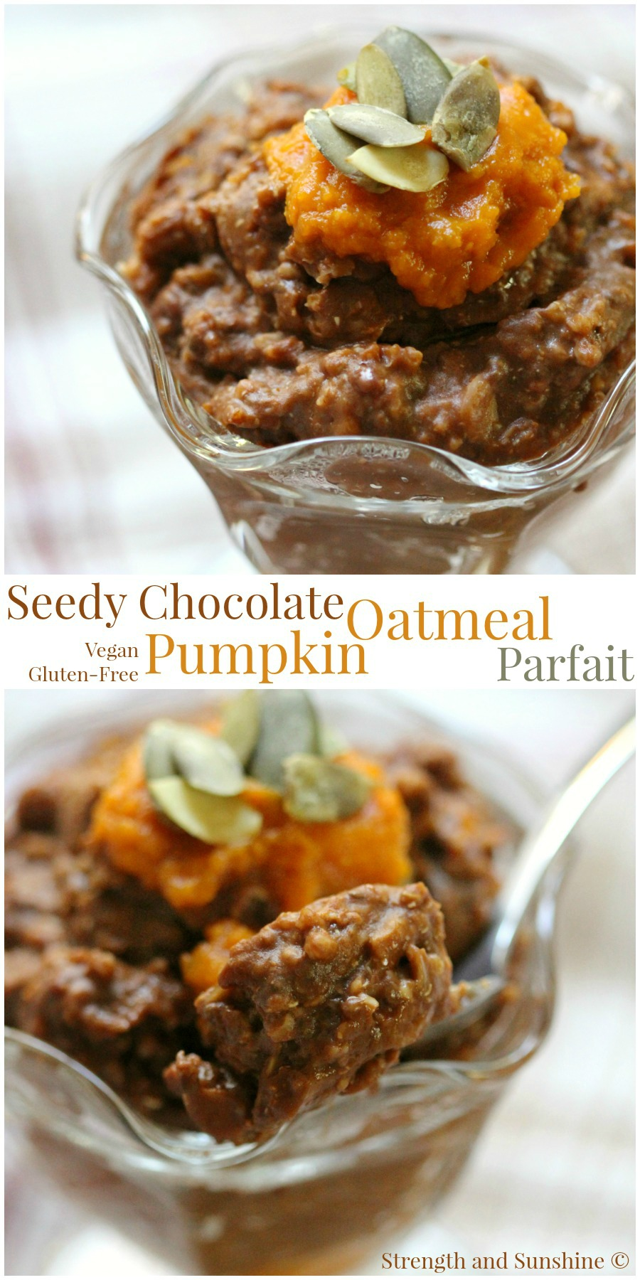 Seedy Chocolate Oatmeal Parfait | Strength and Sunshine @RebeccaGF666 A speedy seedy chocolate pumpkin oatmeal parfait that's gluten-free and vegan. Healthy fats, cocoa, and whole grains make this the perfect comforting breakfast recipe to fuel and start your day with on a chilly morning!