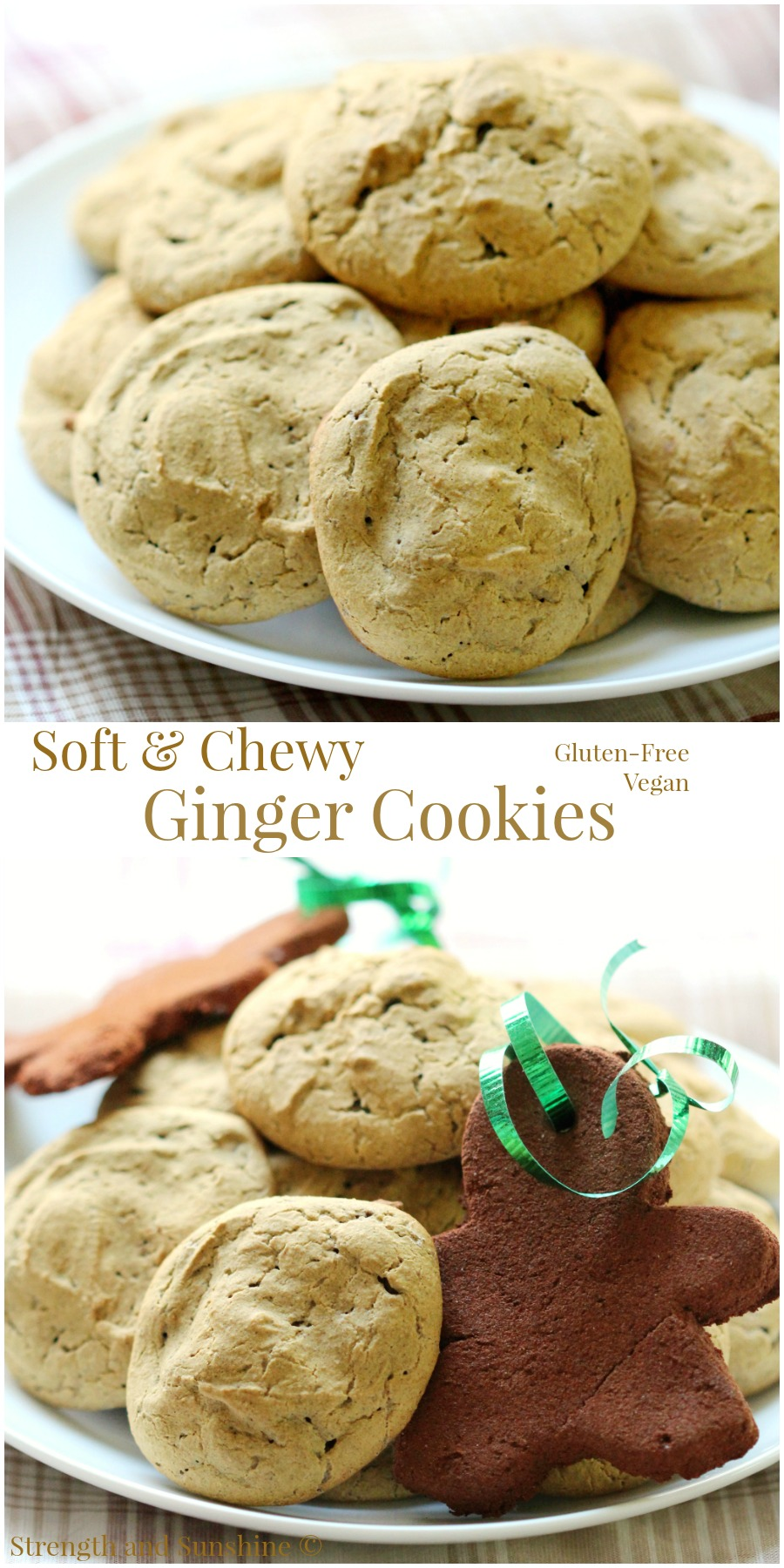 Soft & Chewy Ginger Cookies | Strength and Sunshine @RebeccaGF666 Soft and chewy ginger cookies that are gluten-free and vegan, are like little pillows of ginger joy! When holiday cookie baking is underway, you will want to have this recipe in your arsenal! The perfect healthy recipe to have for dessert this season!