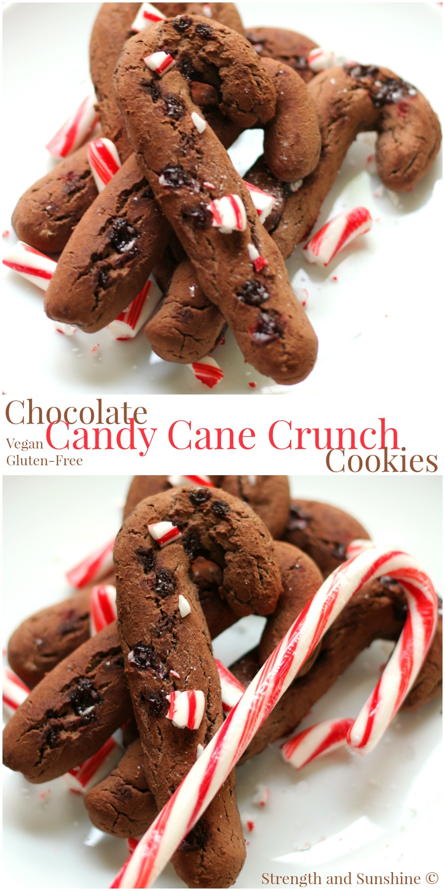 Chocolate Candy Cane Crunch Cookies | Strength and Sunshine @RebeccaGF666 Naughty or nice, baking these cookies will put you on the nice list! Chocolate Candy Cane Crunch Cookies to celebrate the season! Gluten-free and vegan, healthy and delicious, the perfect chocolate and peppermint holiday cookie dessert recipe for kids of all ages!