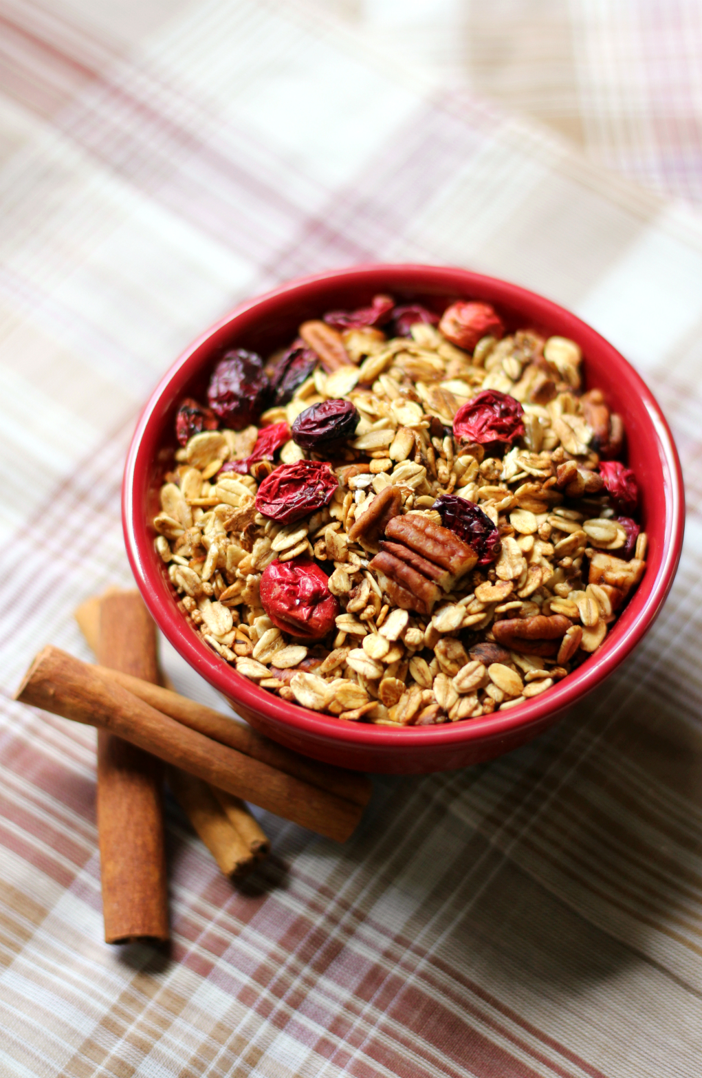 Cranberry Pecan Spiced Skillet Granola | Strength and Sunshine @RebeccaGF666 Bring the scents of cozy warmth and cheer to you home by making this stove-top cranberry pecan spicy skillet granola. Gluten-free and vegan, the perfect healthy treat to munch on, morning, noon, or night! Makes a great breakfast, snack, or homemade gift!