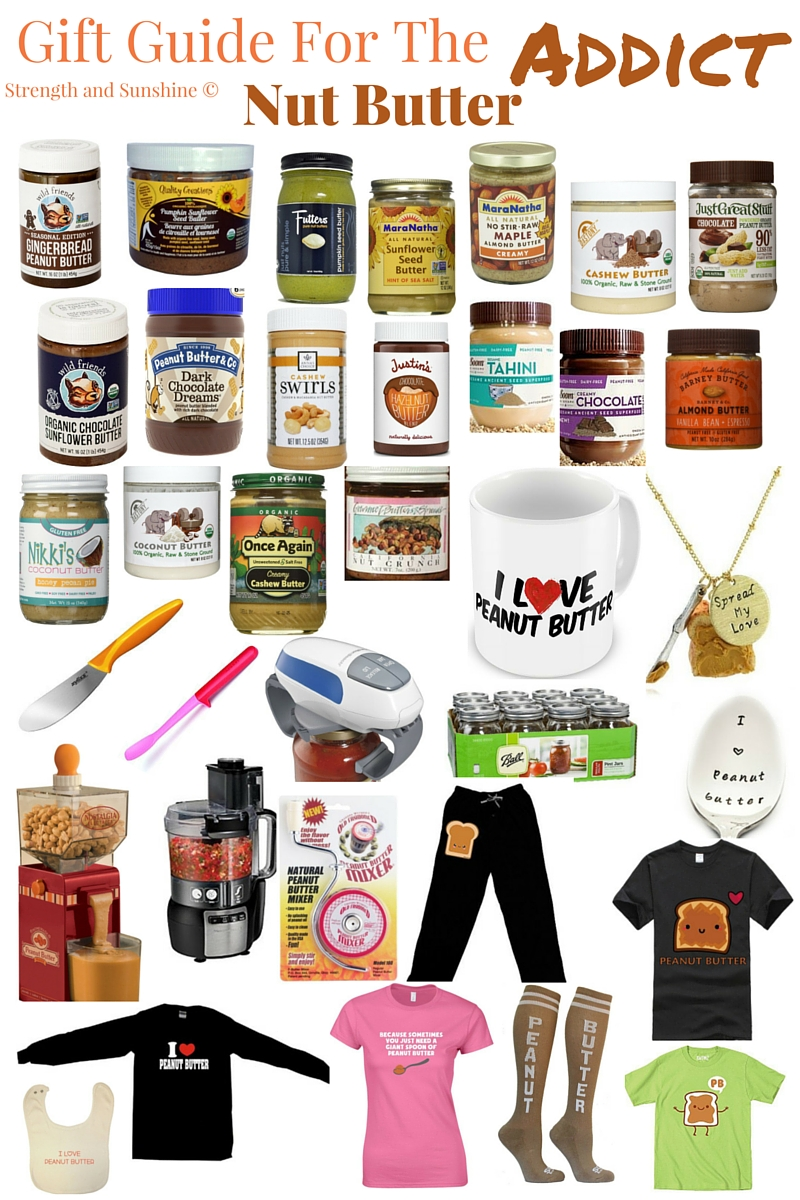 Gift Guide For The Nut Butter Addict | Strength and Sunshine @RebeccaGF666 From the classic peanut butter to trendy tahini, a nut butter addict does not discriminate. This gift guide will help you find the perfect nutty gift for the addicts in your life!