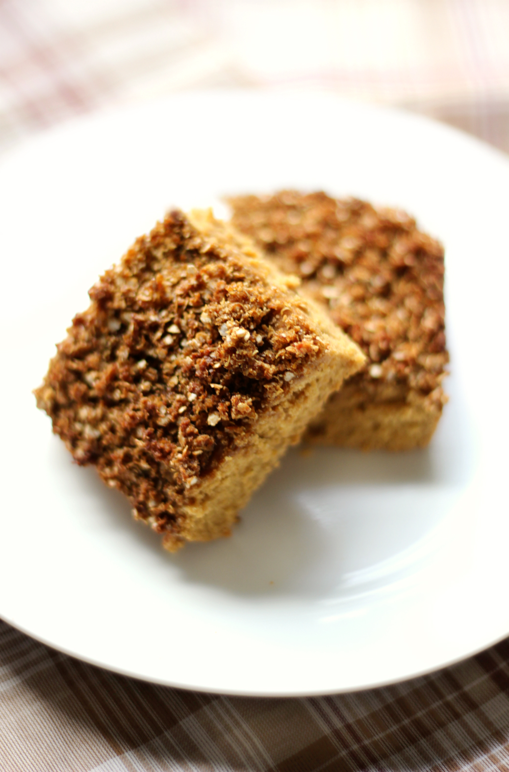 Gingerbread Quinoa Coffee Cake | Strength and Sunshine @RebeccaGF666 Get cozy with some coffee and a slice of this gingerbread quinoa coffee cake! A warm holiday flavor with the protein of quinoa, gluten-free and vegan, this healthy coffee cake is perfect for a winter breakfast, a weekend brunch, or healthy holiday dessert!