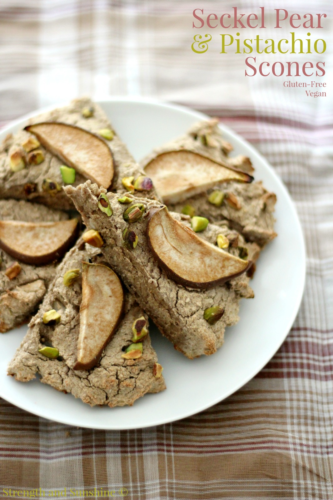 Seckel Pear & Pistachios Scones | Strength and Sunshine @RebeccaGF666 Lovely whole grain gluten-free vegan scones for an elegant winter breakfast or brunch. Seckel pear & pistachio scones are perfect paired with a warm mug of coffee or tea.
