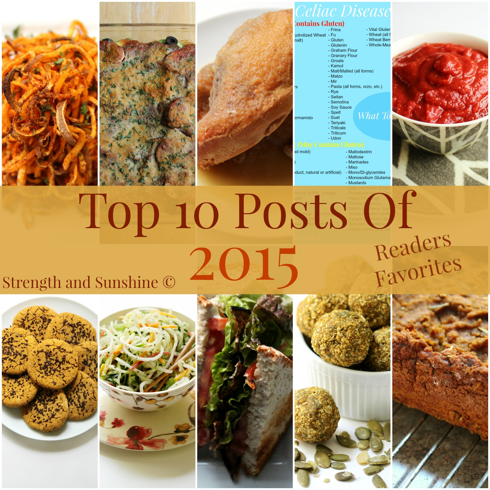 Top 10 Posts Of 2015 | Strength and Sunshine @RebeccaGF666 Readers favorite top 10 posts from 2015 on Strength and Sunshine. Gluten-free & allergy-friendly recipes galore!