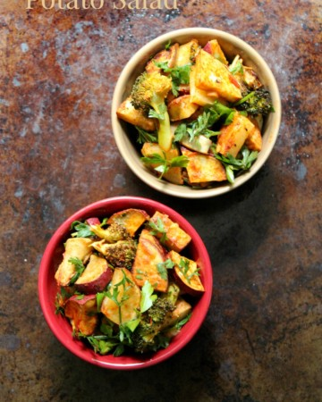 Harissa Potato Salad | Strength and Sunshine @RebeccaGF666 Two types of potatoes, broccoli, and eggplant roasted to perfection and paired with a smoky and spicy harissa sauce. A harissa potato salad, gluten-free, vegan, and paleo, that will elevate you bland dinner side dish to an all new level!