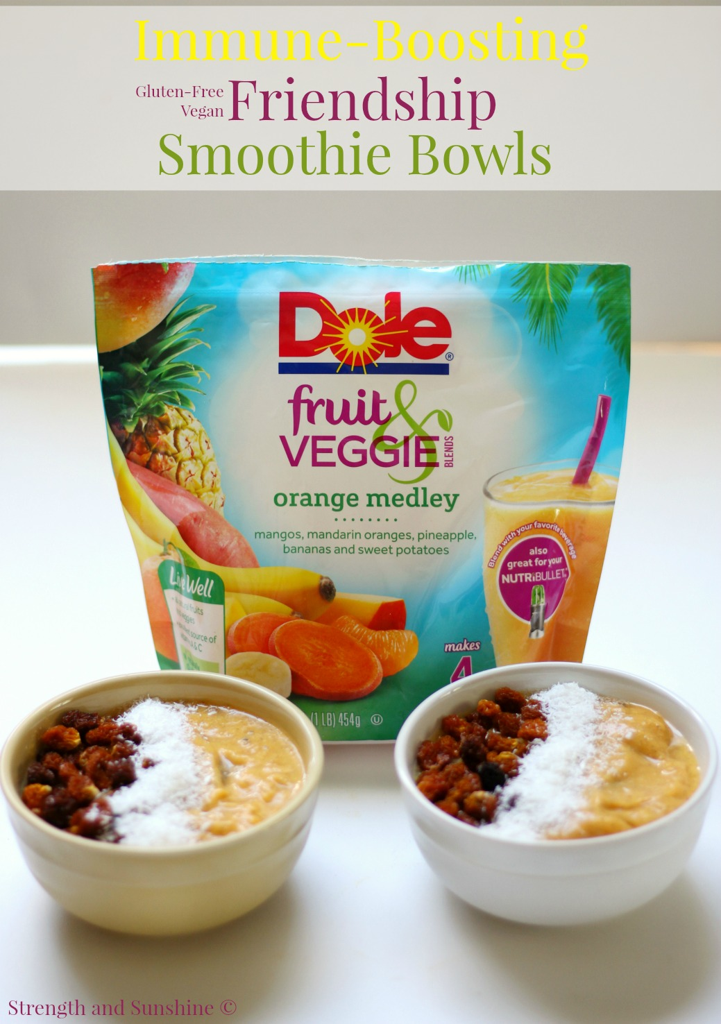 "Immune-Boosting Friendship Smoothie Bowls | Strength and Sunshine @RebeccaGF666 Immune-boosting, creamy, and delicious! These gluten-free vegan smoothie bowls were made to share with your best friend, no matter how ""opposite"" they may be! Share the love, share the wellness, share the health! #BestBlendsForever ad"