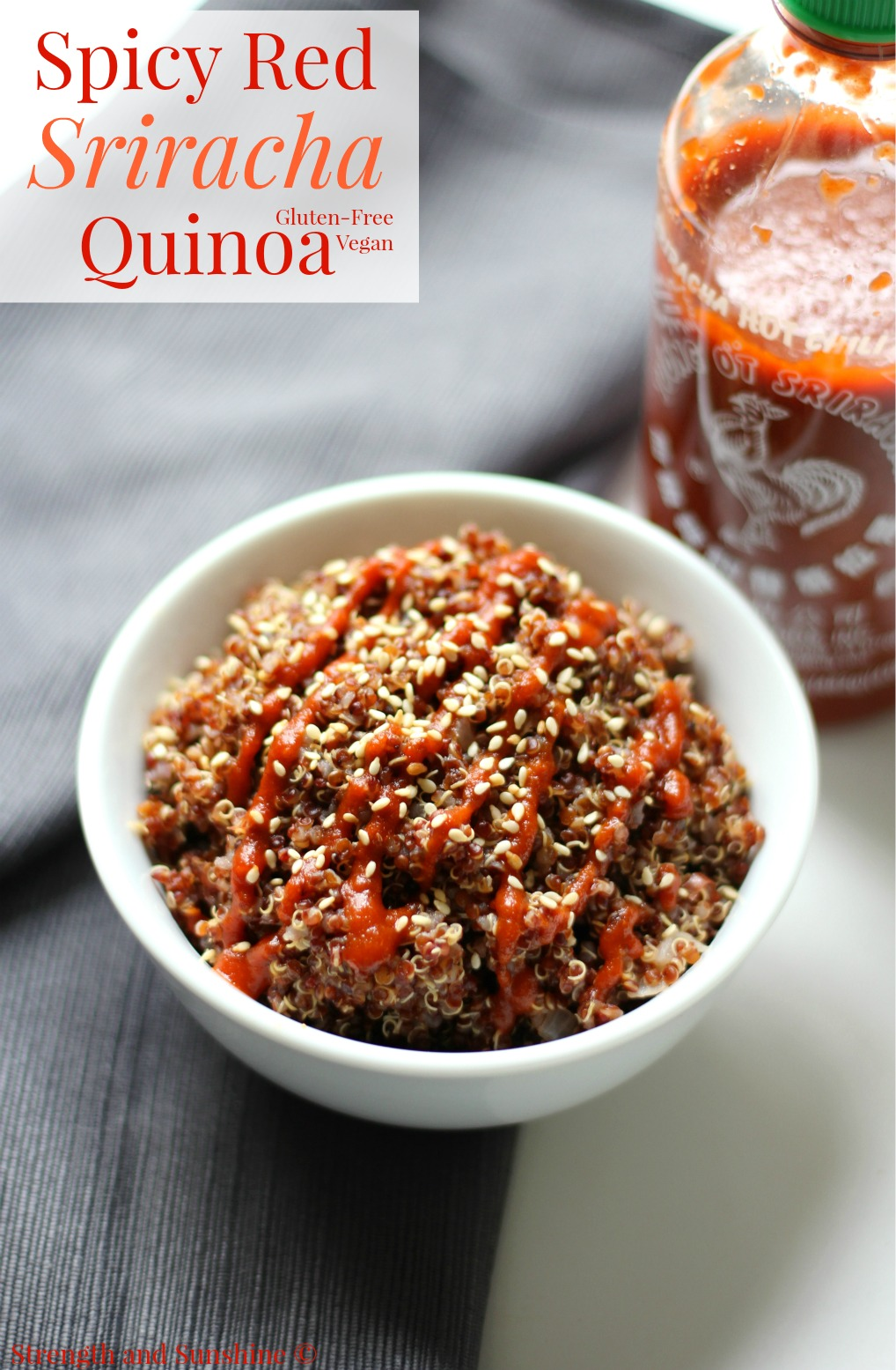 Spicy Red Sriracha Quinoa | Strength and Sunshine @RebeccaGF666 It's gettin' hot in here! Fiery and hot, spicy red sriracha quinoa is not for the faint of heart! The perfect taste bud poppin' Asian side dish recipe to please all of your spicy loving gluten-free and vegan friends! #VillageHarvestInspired [ad]