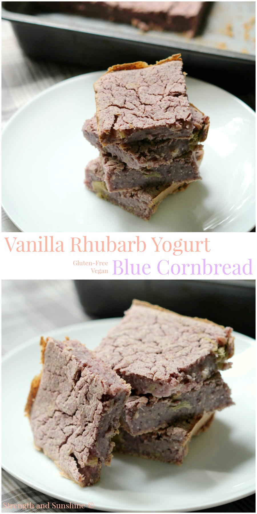 Vanilla Rhubarb Yogurt Blue Cornbread | Strength and Sunshine @RebeccaGF666 A sweet, tangy, and, moist yogurt blue cornbread with hints of vanilla and bits of rhubarb! A modern, gluten-free, vegan twist on the Southern classic recipe that will still make your grandmother proud!