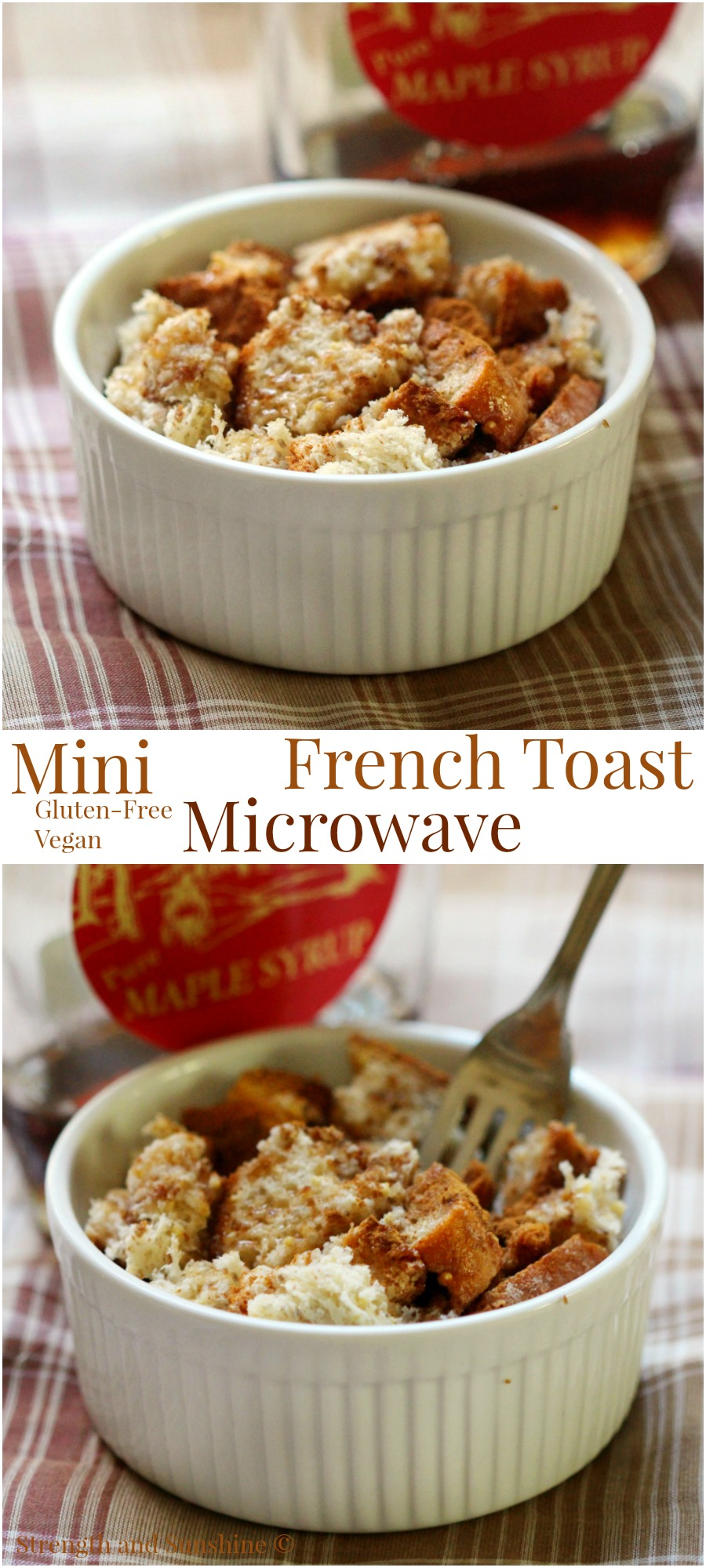 Mini Microwave French Toast | Strength and Sunshine @RebeccaGF666 When you need French toast in a flash! 1, 2, 3 in the microwave, gluten-free and vegan; breakfast will never be boring again, even when you're in a rush! Plus there's no mess to clean up!