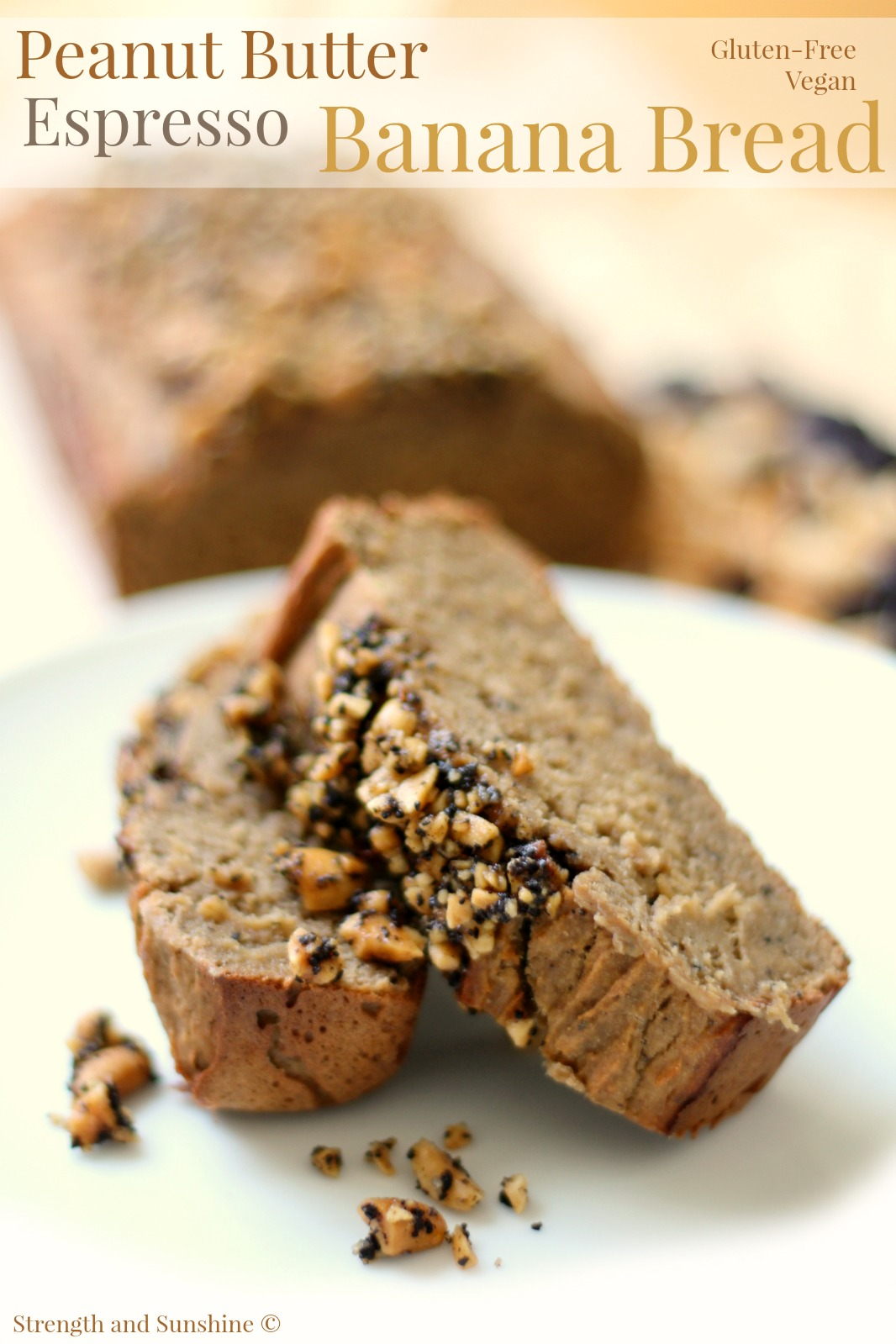 Peanut Butter Espresso Banana Bread | Strength and Sunshine @RebeccaGF666 More than just banana bread. A peanut butter espresso banana bread, moist, soft, secretly nutritious, gluten-free, and vegan. A subtly sweet, buttery, quick bread to make the perfect healthy breakfast, snack, or dessert recipe!