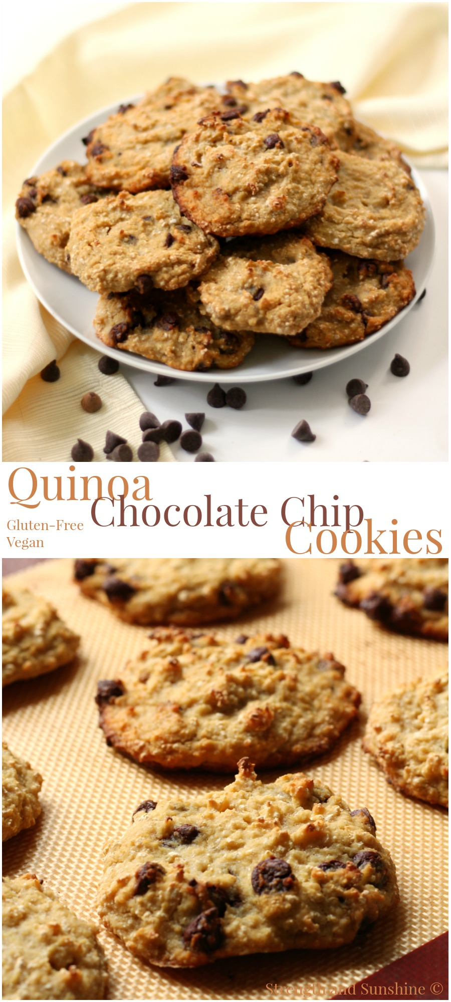 Quinoa Chocolate Chip Cookies | Strength and Sunshine @RebeccaGF666 The classic chocolate chip cookie with the protein punch of quinoa. Healthy, gluten-free, vegan, quinoa chocolate chip cookies that will fool anyone into thinking they're eating a decadent dessert recipe. These call for a double batch!