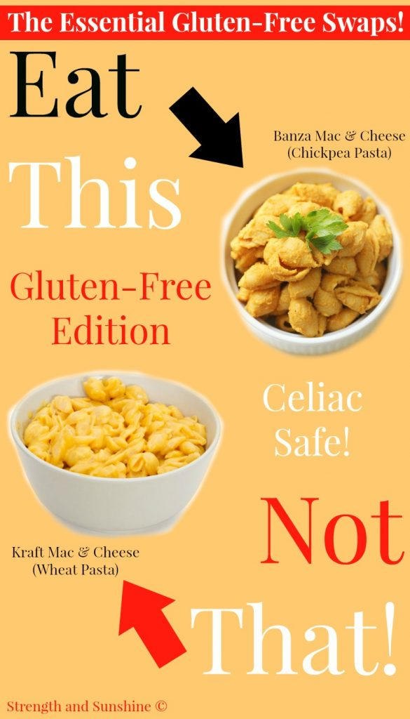 Eat This, Not That! Gluten-Free Edition | Strength and Sunshine @RebeccaGF666 Eat this, not that! Gluten-free edition. Learn the essential, but still delicious, swaps to your new gluten-free diet! Think you can't have pasta or bread as a celiac? Think again! Just eat these simple gluten-free swaps to replace all your old gluten-containing favorites!