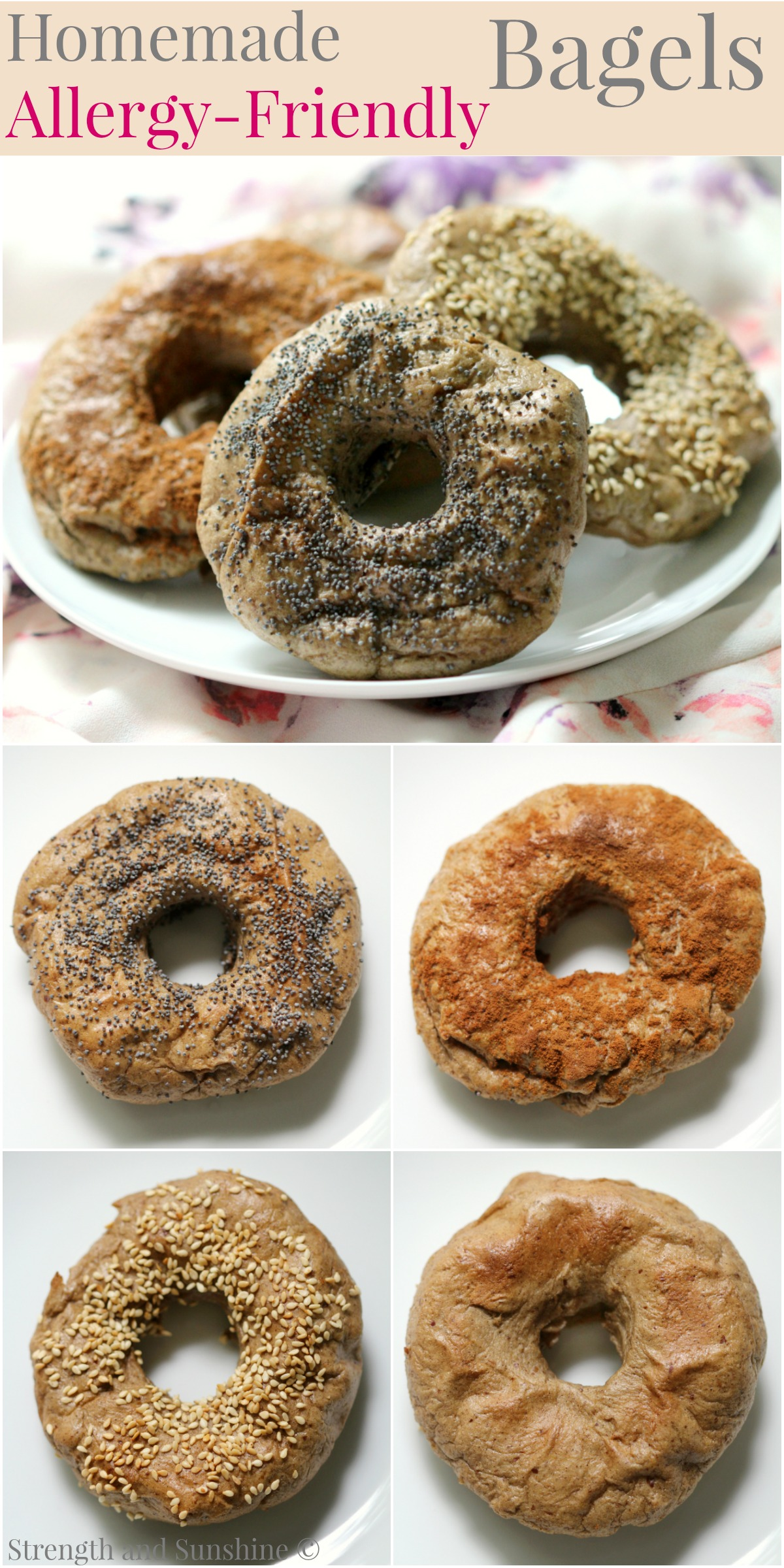 Homemade Allergy-Friendly Bagels | Strength and Sunshine @RebeccaGF666 Fresh from the oven, homemade allergy-friendly bagels for everyone! Gluten-free, nut-free, dairy-free, egg-free, soy-free, vegan, a simple recipe for the classic and favorite breakfast carb! Choose your topping and flavors for a special journey!