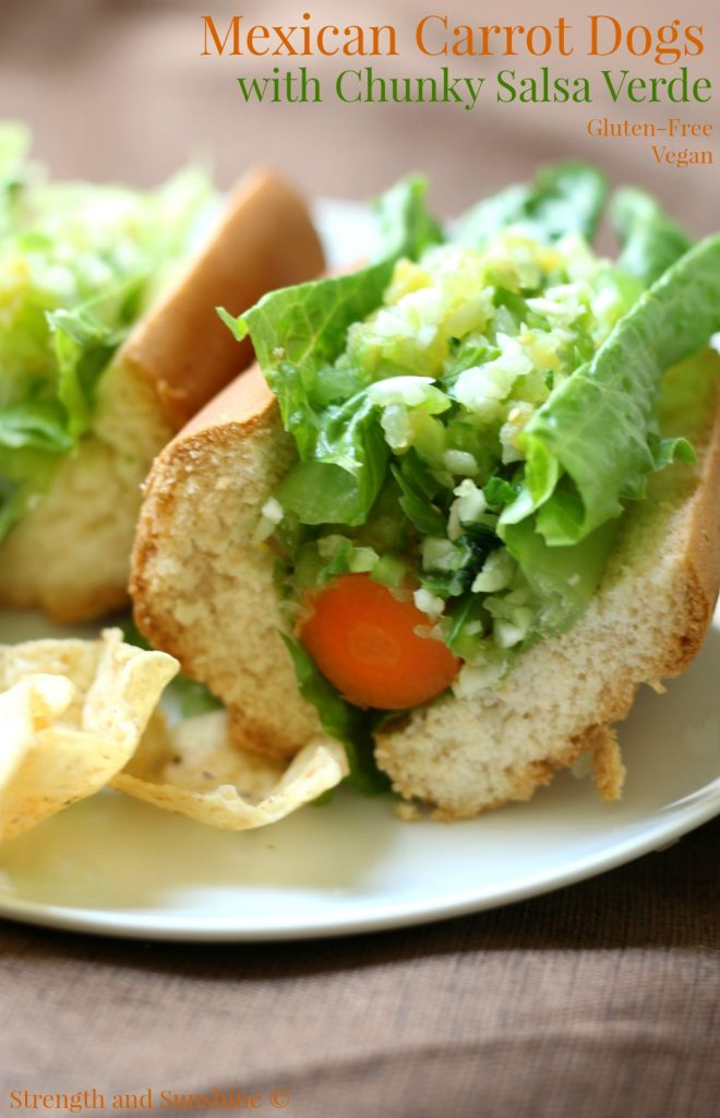 Mexican Carrot Dogs with Chunky Salsa Verde | Strength and Sunshine @RebeccaGF666 The ultimate plant-based hot dog! Mexican carrot dogs with chunky salsa verde are a fun summer bbq must! Gluten-free and vegan, this healthy meatless recipe will have your taste buds fooled and your body thanking you!