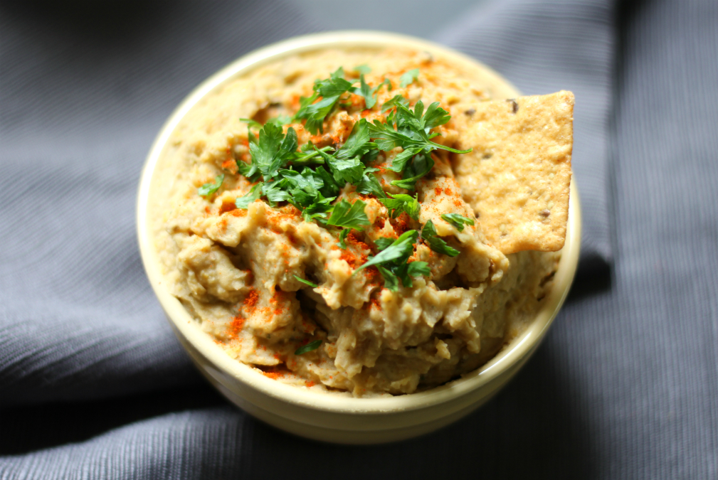 Baba Ghanoush Hummus | Strength and Sunshine @RebeccaGF666 Combine 2 of the best dip recipes to make Baba Ghanoush Hummus! Full of deep, smoky, and roasted flavors, this condiment will seem like a meal! Gluten-free, vegan, and nut-free, with eggplant and chickpeas, you'll get your healthy veggies and protein in one dip!