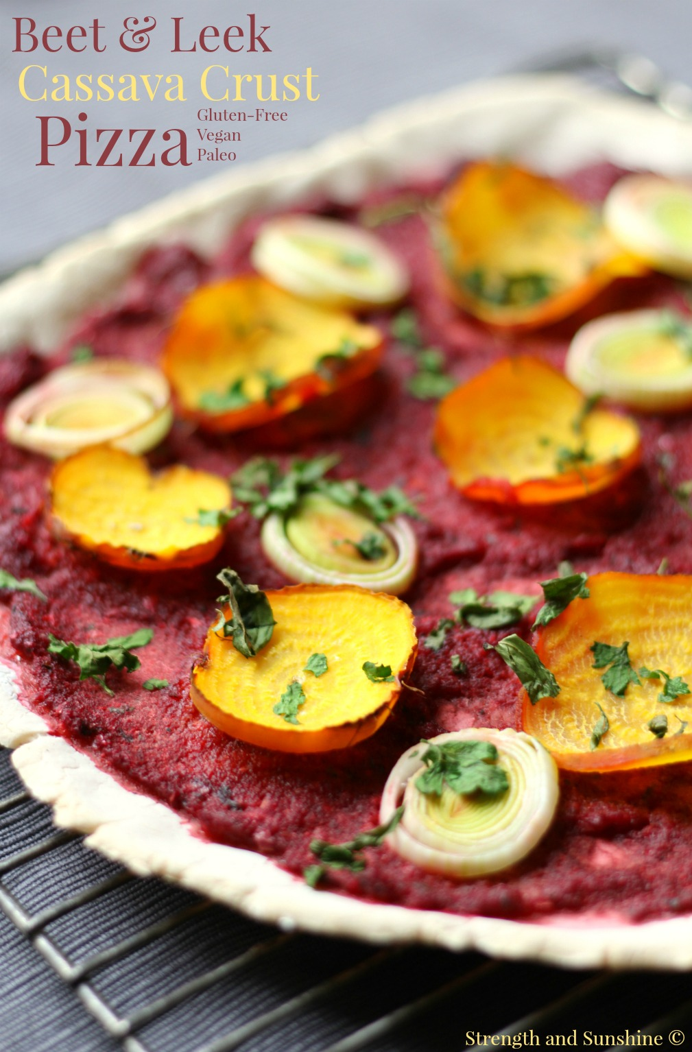 Beet & Leek Cassava Crust Pizza | Strength and Sunshine @RebeccaGF666 It's pizza time! A healthy beet & leek cassava crust pizza that's gluten-free, vegan, nut-free, and paleo. A fantastic whole food pizza recipe for a weeknight dinner, but fancy enough for a date night!
