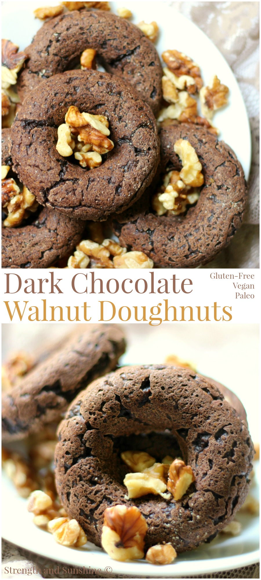 Dark Chocolate Walnut Doughnuts | Strength and Sunshine @RebeccaGF666 Decadent, but secretly healthy, Dark Chocolate Walnut Doughnuts! These gluten-free, vegan, & paleo doughnuts are baked breakfast perfection! Serve them with a cup of coffee or your afternoon tea! sponsored #SilkCrowd #Nutchello #lovemysilk @Silk