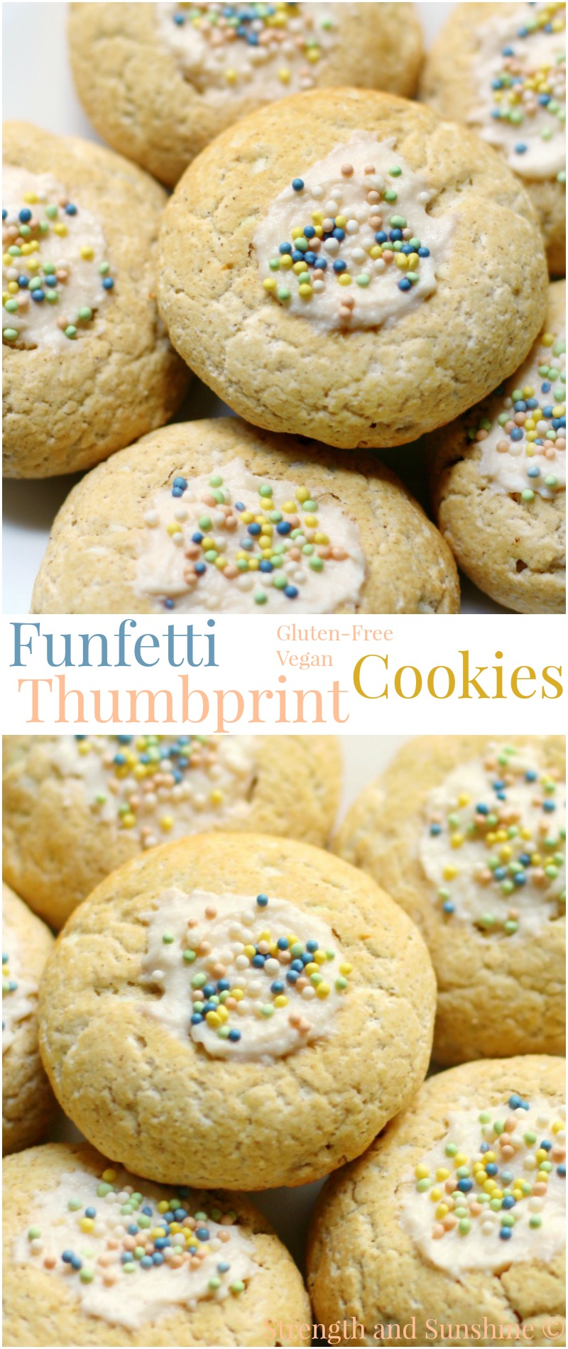 "Funfetti Thumbprint Cookies | Strength and Sunshine @RebeccaGF666 All of the cake qualities of Funfetti in cookie form! Gluten-free and vegan Funfetti Thumbprint Cookies, soft, sweet, & tender with a ""cream cheese"" center to mimic frosting! The iconic celebratory dessert for any occasion!"